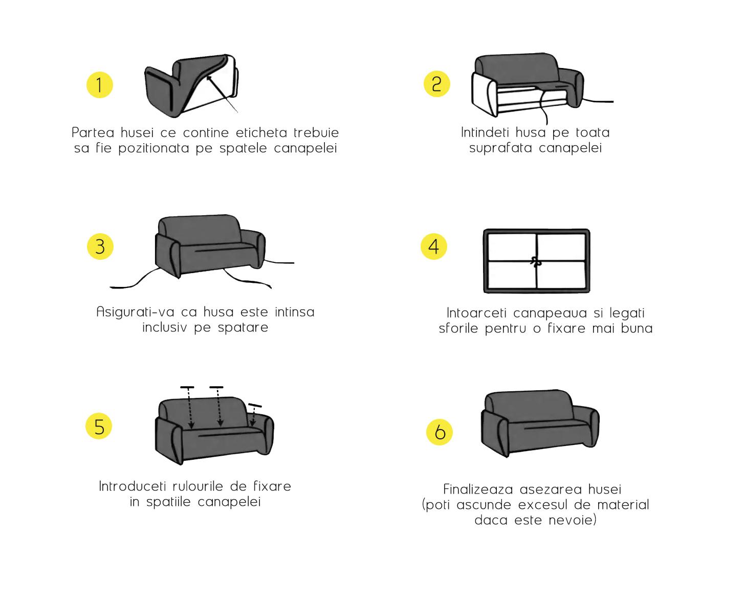 cum se monteaza husa canapea